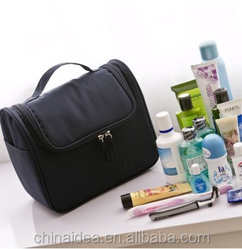 Fashion of portable simple pure color black waterproof polyester toiletry bags