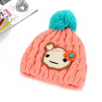 Wholesale Orange Beanie Hats Knitted Caps With Green Pompons Cartoon Games Children Hat