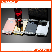 Aluminium Electroplating Bumper Frame +diamond Mirror back cover case for iPhone 5 se