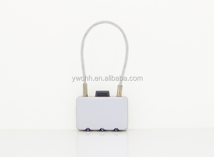 Silver lock with steel cable small cable lock