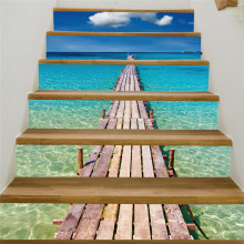 3D escaleras Beach Pier decoración impermeable auto-adhesivo escalera vinilo PVC pared pegatinas casa decoración cartel mural