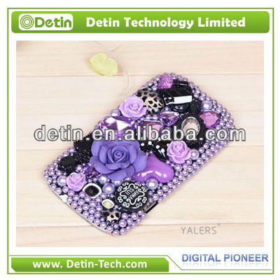 new product fascinating Flower design Bling rhinestone cover for samsung galaxy ace