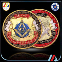 Custom design soft enamel masonic metal challengne coin