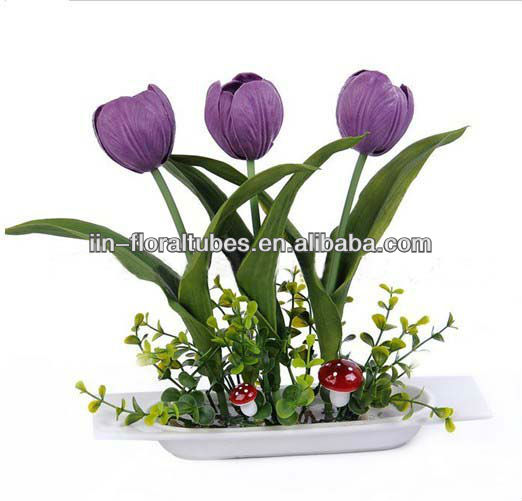 artificial flower tulip with ceramics pot