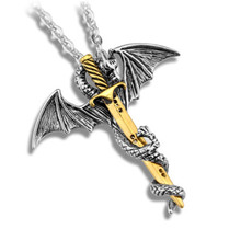 Flying Dragon With Wings Rolled Sword Choker Personality Cross Pterosaur Vintage Bronze Pendant Jewelry Game of Throne Necklace