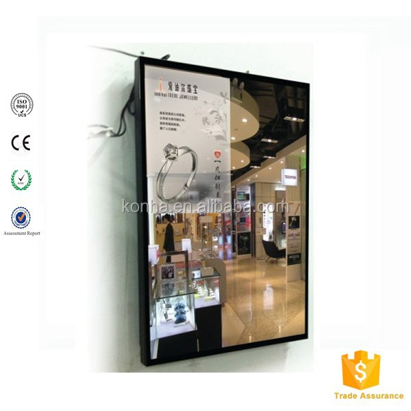 Magic mirror advertising screen in commerical building with wireless wifi android