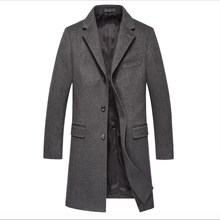 Winter Outerwear warm clothes 90%wool 10%nylon custom logo long trench coat men