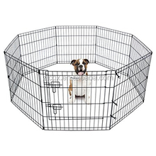 Wire Fence Pet Dog Cat Folding Exercise Yard 8 Panel Metal Playpens Black