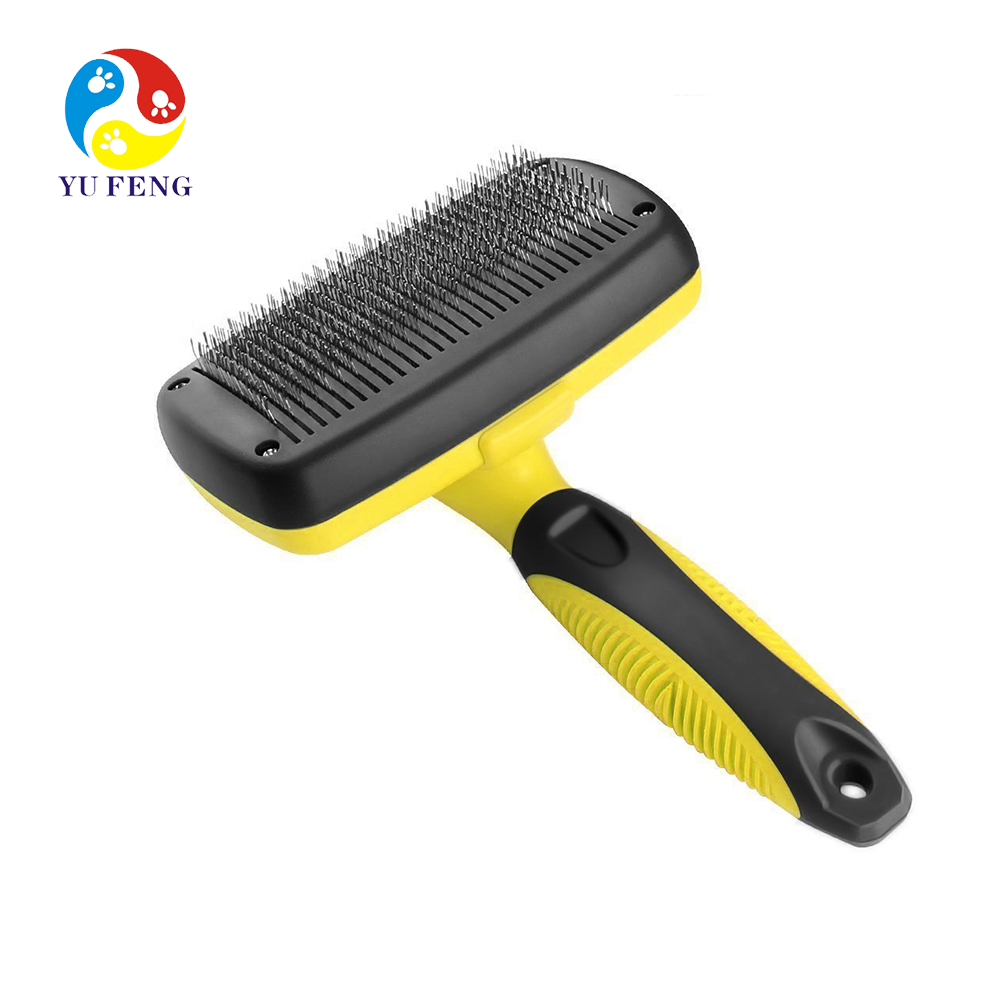 Professional Rake Brush Self Cleaning Grooming Comb for Small, Medium and Large Breeds with Medium and Long Hair Coats