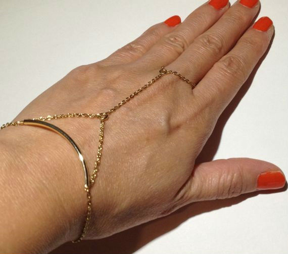 Godbead Gold Chain Linked Ring Bracelet with Tube Bead - Hand Jewelry - Hand Flower - Handflower