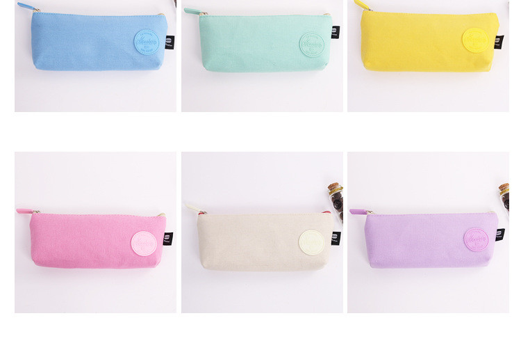 2019 new style lovely Macaroon color pencil case simple canvas pen bag student zipper pencil box