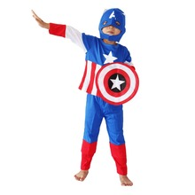 Halloween Costumes Bulk Children Superhero America Captain Cosplay Long Sleeve Halloween Costumes Set for Kids