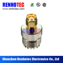 50 ohm Brass gold plated SMA male to UHF female rf connector adapter