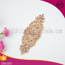Wholesale gorgeous rose gold rhinestone crystal beaded iron on appliques