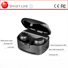 2017 Hot Sale tws bluetooth earphones v4.1 wireless stereo headphone with built-in mic and small charging case