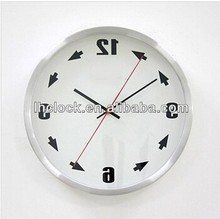 aluminium backwards running clock