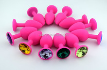 100% Silicone Smooth Touch Anal Beads Butt Plug w/ Colorful Diamond Butt Plug Insert Stopper, Unisex Sex Toy for Man