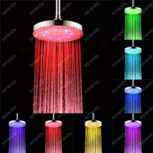 LD8030-C2 water powered 7 colors color 8 inch Brass Round led top shower head