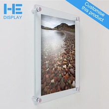 large frameless clear plexiglass acrylic perspex wall mounted photo picture frames