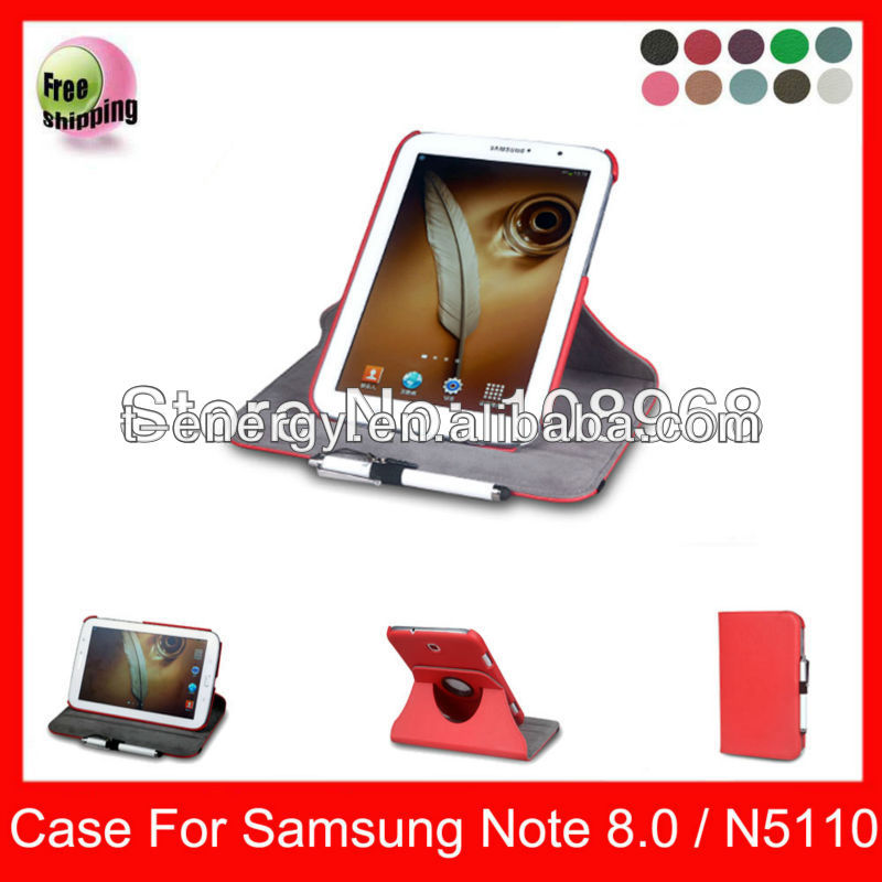 Auto Wake Sleep Function,High Quality PU Smart Rotating Cover leather case for Samsung note8.0 N5110 leather case,Red
