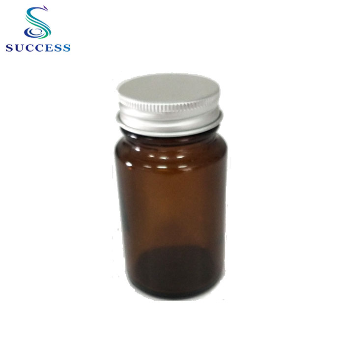 Sample Free Tablet Packaging Pharmaceutical Amber Glass Bottle with Aluminum Lid 75ml
