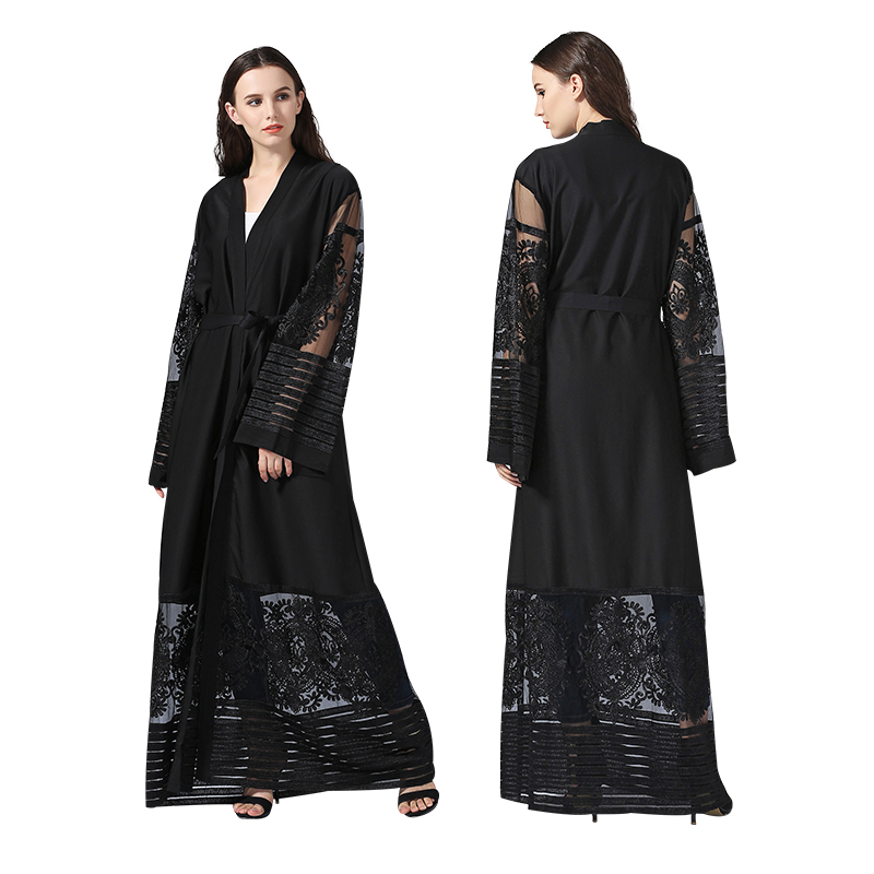 Premium polyester women Dress latest S-XL modest fashion lace black abaya