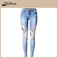 High quality ladies fashion jeans cheap lace decorated jeans pants for women