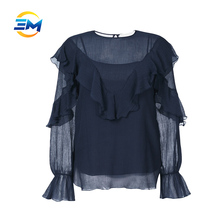 Custom women long sleeve round collar lotus sleeve flounce blouse cutting stitching silk cotton blouse