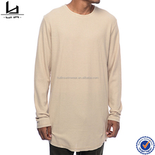 Drop tail split rounded hem blank elongated longline t shirt long sleeve tall tee
