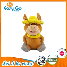 Orange Plush Buffalo toy with yellow Hat