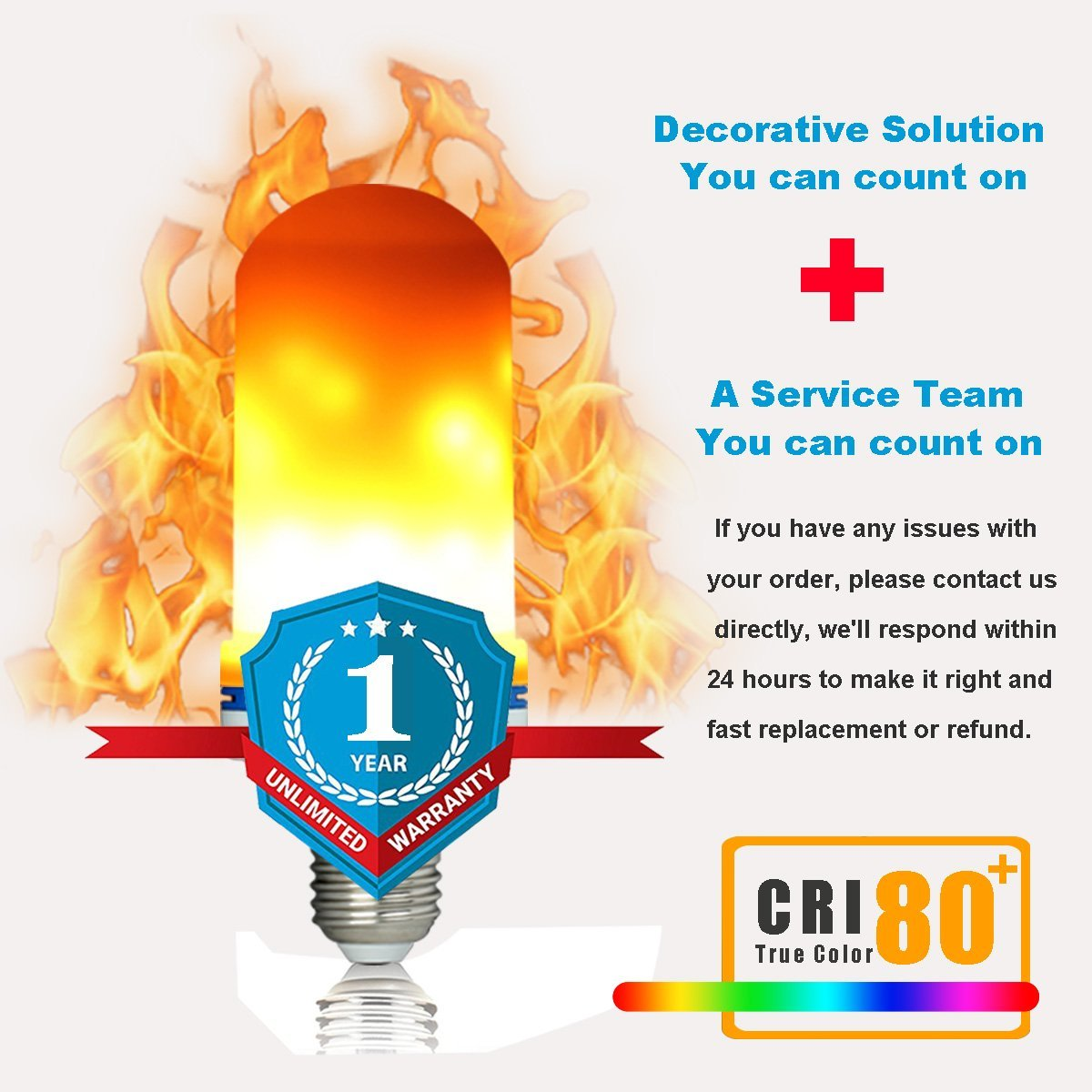 LED Flame Effect Fire Light Bulb with 4 Modes w/Gravity Sensor, Ambient Simulation, Gas Lamp, Flicker Up & Down