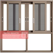 Teeyeo grills design champagne color aluminum up and down sliding window
