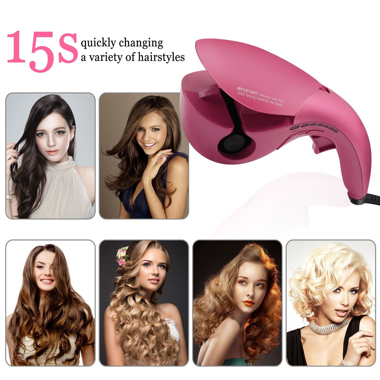 mermaid magic ceramic luxury automatic curler rolling automatic curling wand rotating hair curling iron