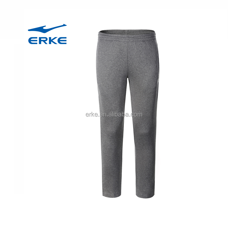 ERKE wholesale black grey polyester mens sports track pants with procket