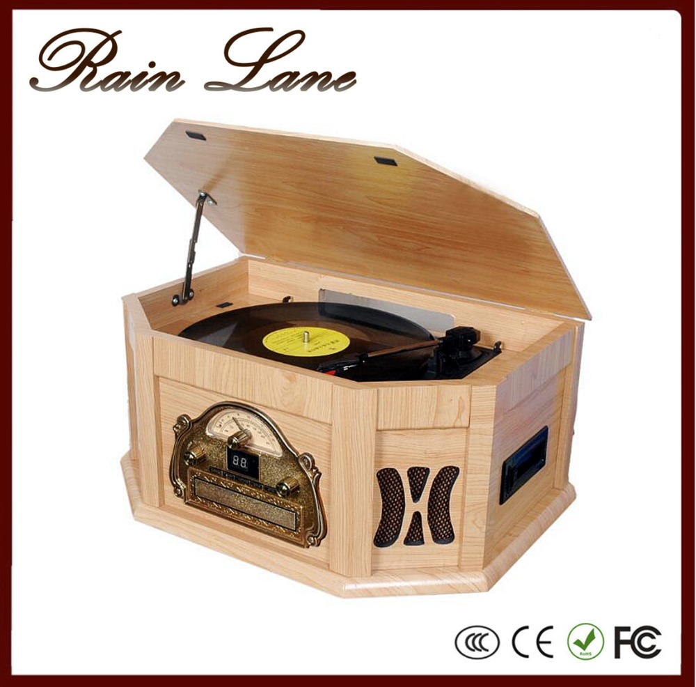 Rain Lane Audio Player Vinyl Record Player With USB SD Cassette Retro Turntable Player For Sale