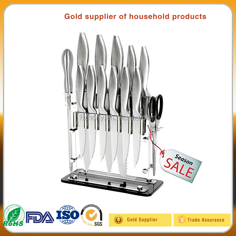 "14 Pc Stainless Steel kitchen Cutlery Knife Block Set - 8"" Chef, Bread Scissors, Sharpener Stand Carving Steak Knives"