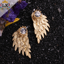 ELX-00276 High quality wholesale zinc alloy angel wing druzy double sided stud earrings