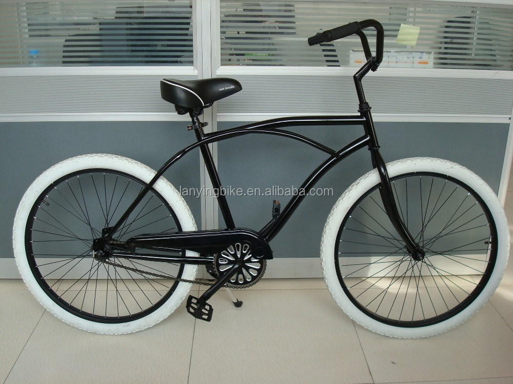 New type Crusier bicycle white tyre black frame /adult chopper beach bike