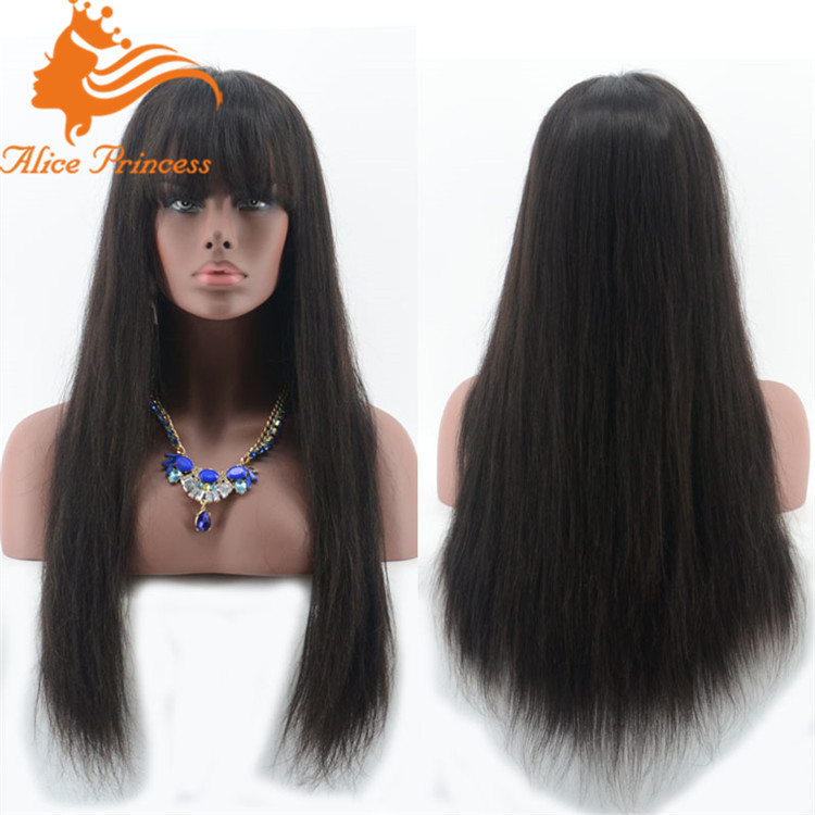 brazilian straight human hair full lace wigs with bangs fringe lace front wig for black woman free shipping by <strong>dhl</strong>