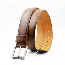 Fashion brown genuine western leather belt for men