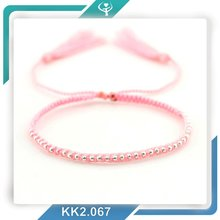 2016 European style tassel small beads colombian handcraft pink breast cancer bracelet