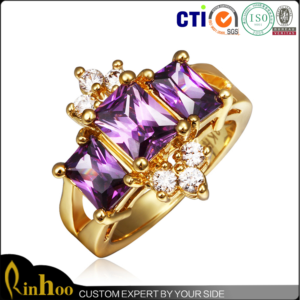 Elegant Shape Amethyst Crown Ring Girl Dresses Jewelry Crown Ring, High-end Gold Ring