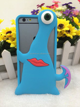 Free Sample Phone Cover Soft 3D Silicone Monsters Animal Stand Case For iphone 6/plus