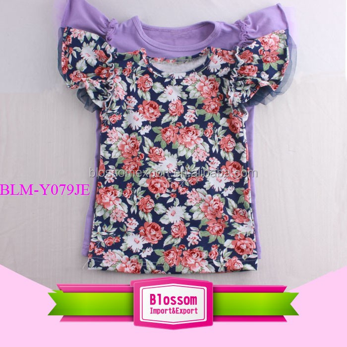 Girls Wholesale Icing Raglan Shirts Cotton Raglan T Shirts Blank Design 3/4 Sleeve Ruffle Raglan