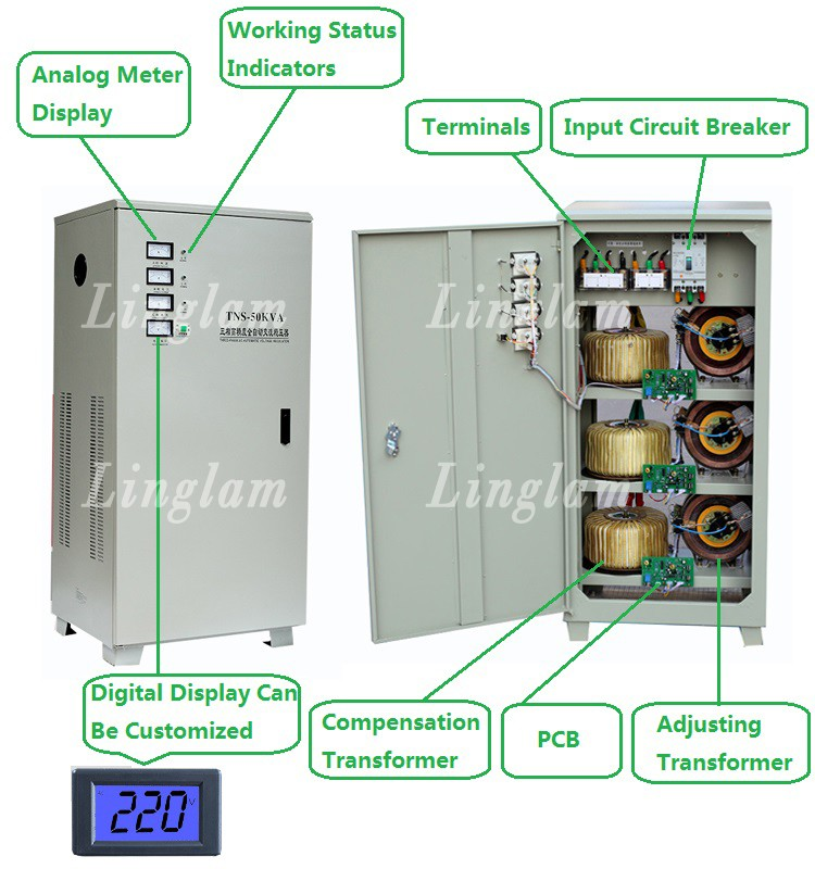 SVC-TNS Automatic Voltage Stabilizer/Regulator 380 V 50kva