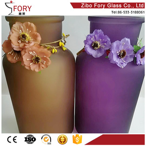 Custom frosted color bottle wedding centerpiece glass vase silver glass vase tall trumpet glass vases
