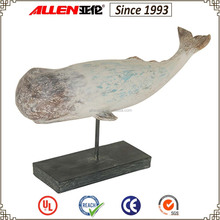 23 cm sperm whale sculpture with black stand, sperm whale tabletop statue