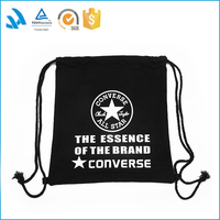 Fashionable gym sack wholesale cotton fabric drawstring backpack