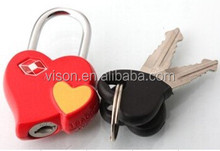 Heart shape TSA key lock/love heart shaped luggage lock