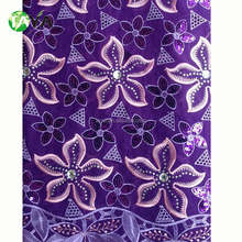 High quality purple Embroidery 100% cotton Swiss voile african lace fabric